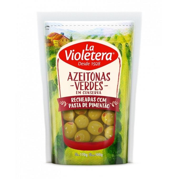 Azeitona verde recheada pasta de pimentão refil doy pack La Violetera 100 gr