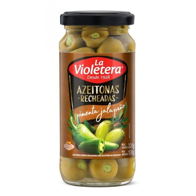 Azeitona Recheada com Pimenta Jalapeño La Violetera 130g