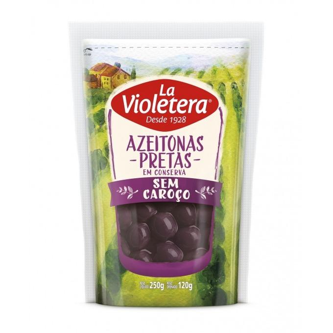Azeitona Preta Sem Caroço La Violetera Refil Doy Pack 120 gr